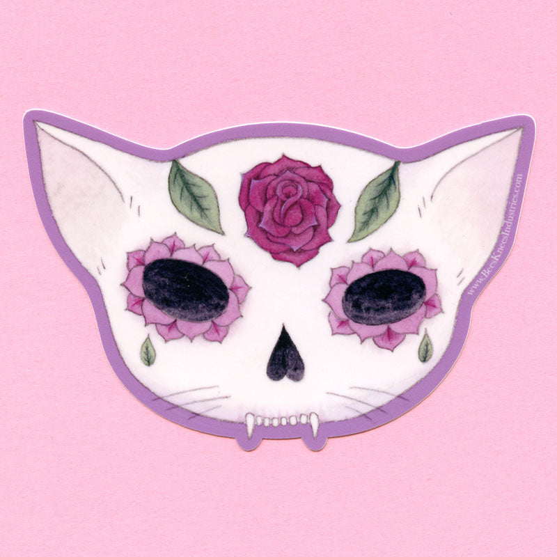 Rose Sugar Skull Cat Sticker