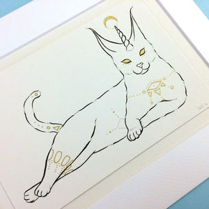 Caracal Cat Original Drawing