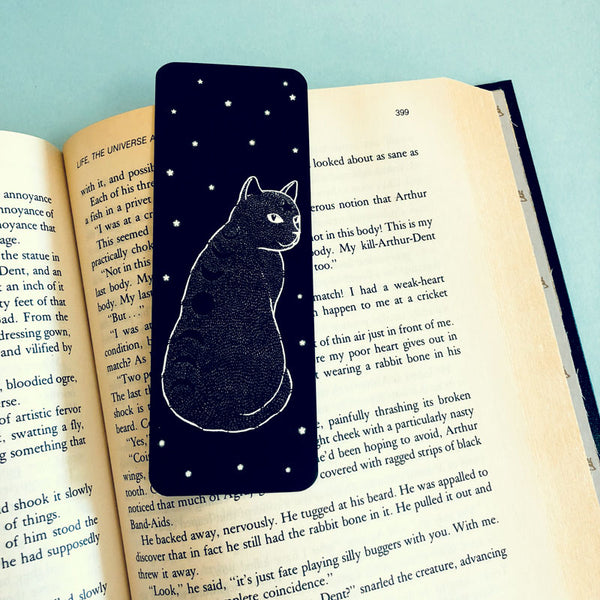 Moon Phase Cat Bookmark