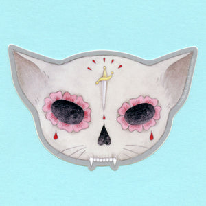 Knife Sugar Skull Cat Sticker