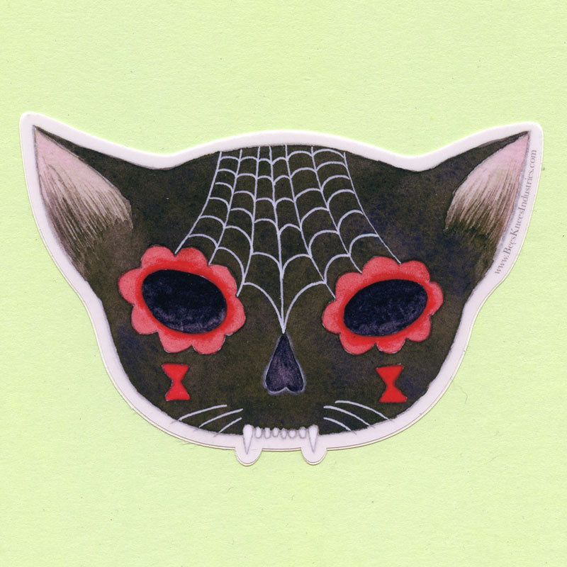 Spiderweb Sugar Skull Cat Sticker