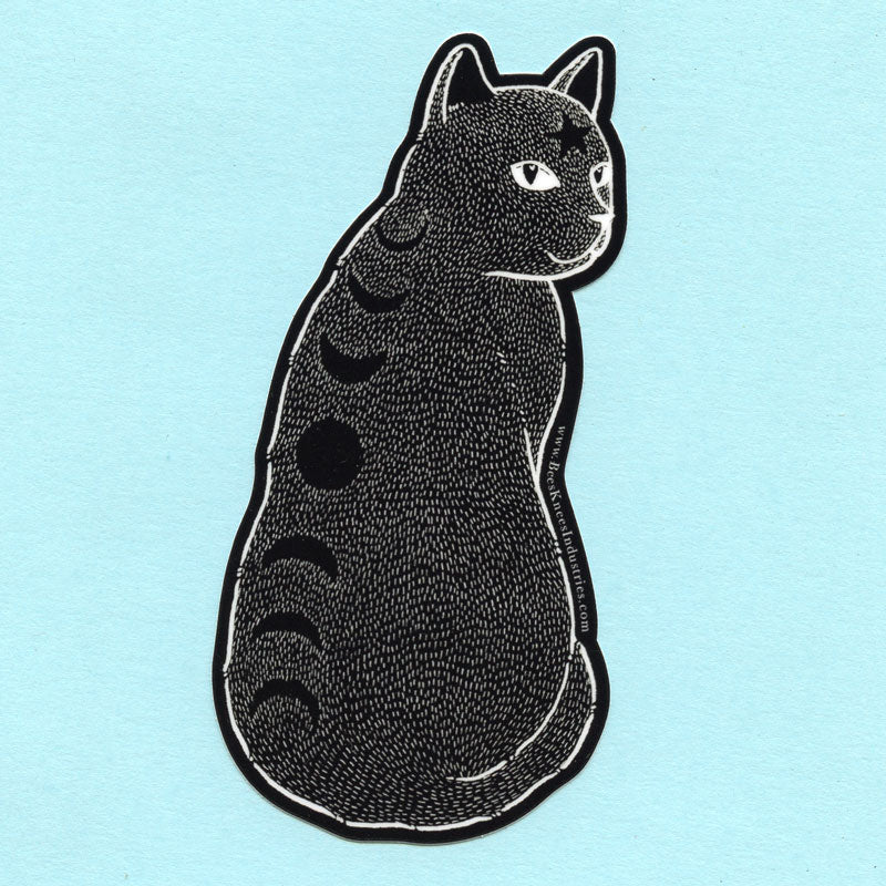 Moon Phase Cat Sticker