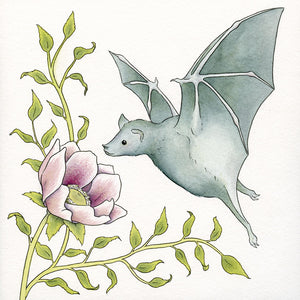 Bat & Flower Original Painting