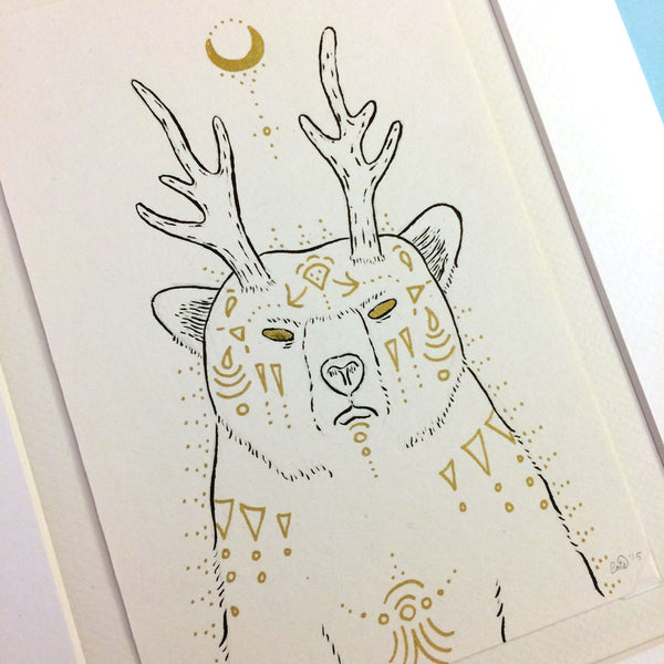 Fantastical Grizzly Original Drawing