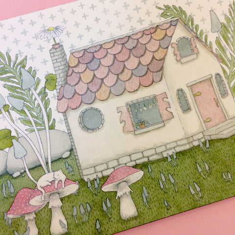 Tiny Witch's Cottage Original Painting