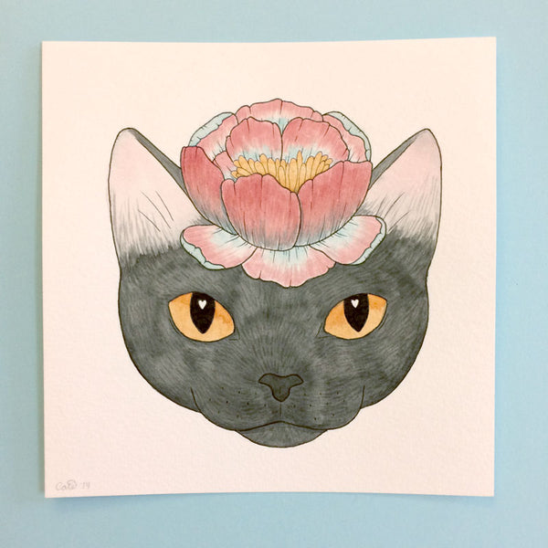 Flower Cat Original Painting