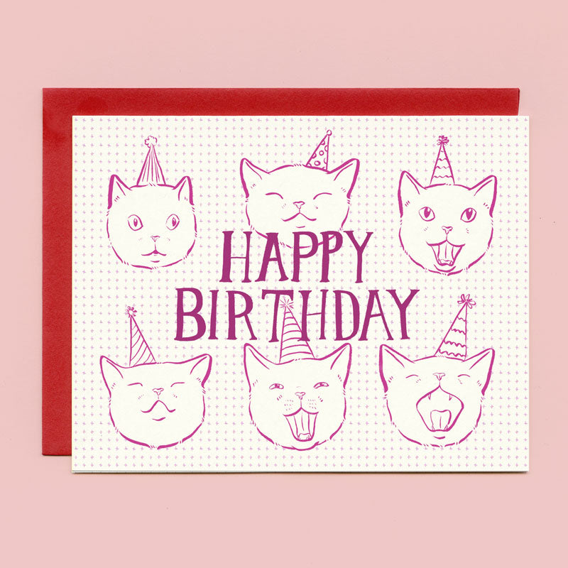 Birthday Cats in Hats Birthday Card