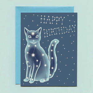 Celestial Cat Birthday Card