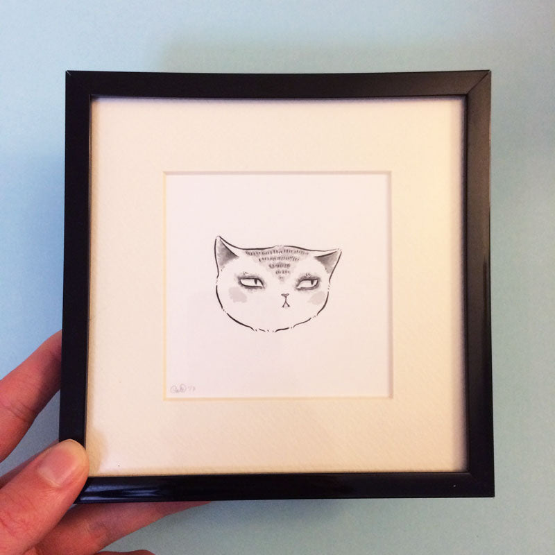 Expressive Cat Original Drawing 2