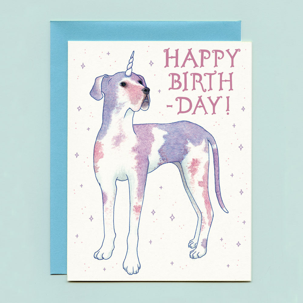 Great Dane Dogicorn Birthday Card