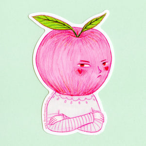 Grumpy Apple Sticker