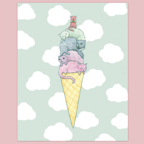 Ice Cream Cats Print