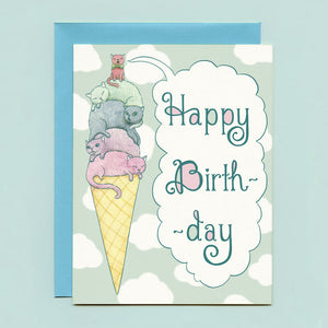 Ice Cream Cats Birthday Card
