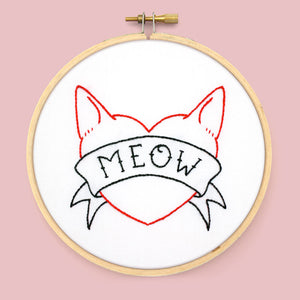 Meow Tattoo PDF Embroidery Pattern