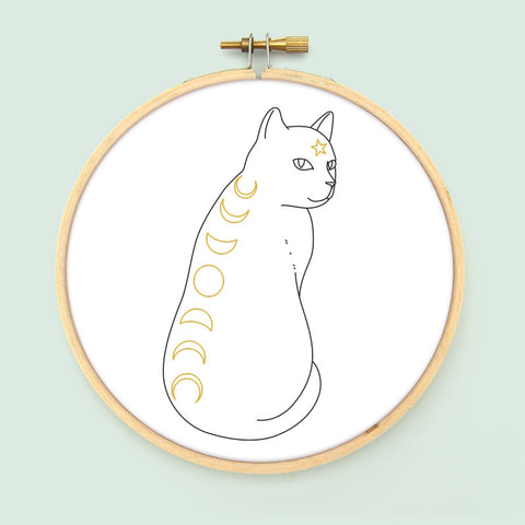 Moon Phase Cat PDF Embroidery Pattern