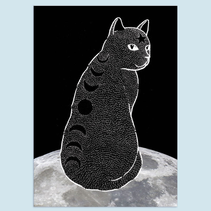 Moon Phase Cat Print