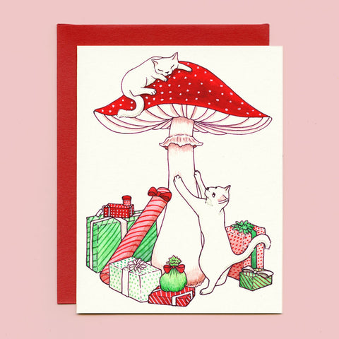 Mushroom Cats Holiday Card
