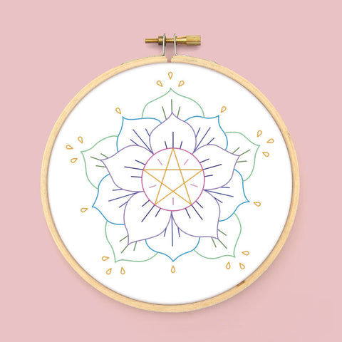 Pentacle Flower PDF Embroidery Pattern
