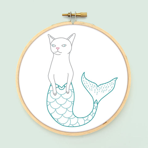 Purrmaid Embroidery Pattern