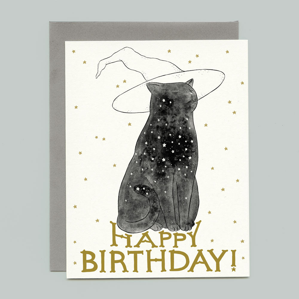 Starry Witchcat Birthday Card