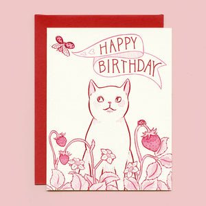 Strawberry Cat Birthday Card