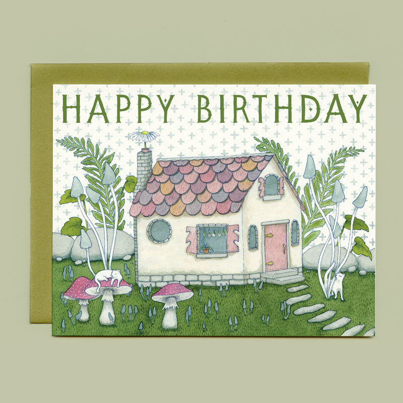 Tiny Witch's Cottage Birthday Card