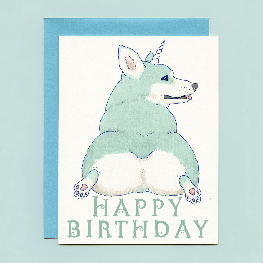 Unicorgi Birthday Card