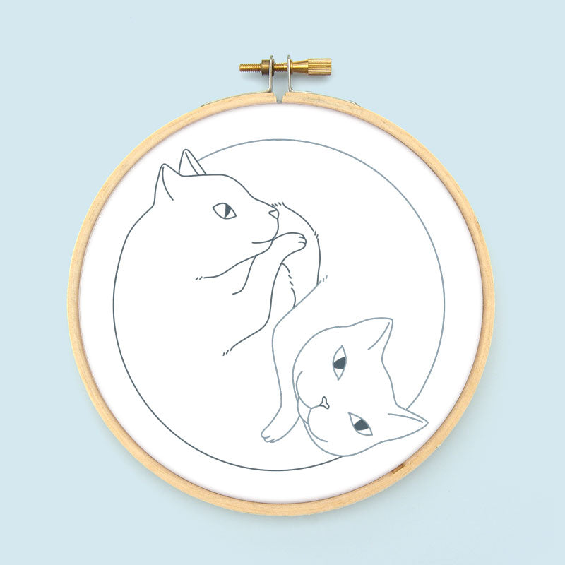 Yin Yang Cats Embroidery Pattern