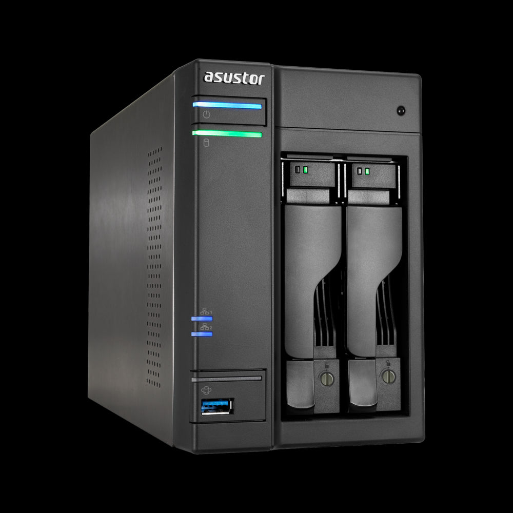 Asustor AS6202T 2 Bay NAS Intel Celeron Quad Core 1.6GHz 4GB DDR3L 512MB DOM 2xGbE HDMI 3xUSB3 2xeSATA S/PDIF WoL Windows Mac Linux 24/7 Mobile App