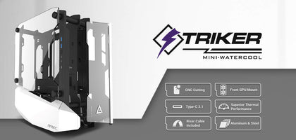 Antec STRIKER Open Frame Mini-ITX Aluminium and Steel Case, PCI-E Riser Cable included. USB 3.1 Type-C, Aluminium Steel, Superior Thermal Performance