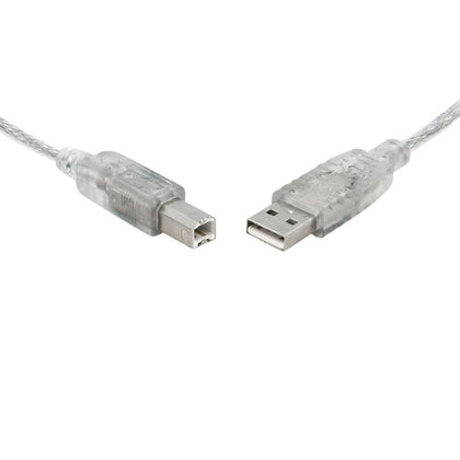 8Ware USB 2.0 Cable 0.5m (50cm) A to B Transparent Metal Sheath UL Approved
