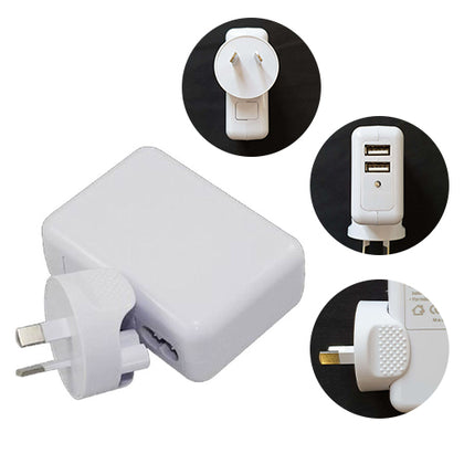 Astrotek USB Travel Wall Charger AU Power Adapter Plug 5V 2.1A 100V-240V 2 Ports White Colour for iPhone Samsung Smartphones & USB Devices ~CBAT-USB-P