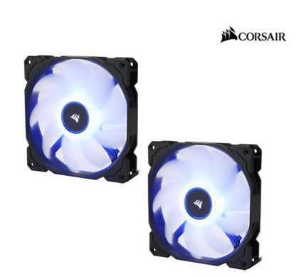 Corsair Air Flow 140mm Fan Low Noise Edition / Blue LED 3 PIN - Hydraulic Bearing, 1.43mm H2O. Superior cooling performance. TWIN Pack!