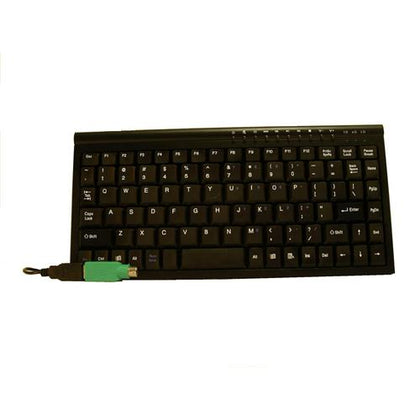 8Ware Mini Keyboard USB & PS2 Black 89 Keys Multimedia keyboard with 10 hot keys