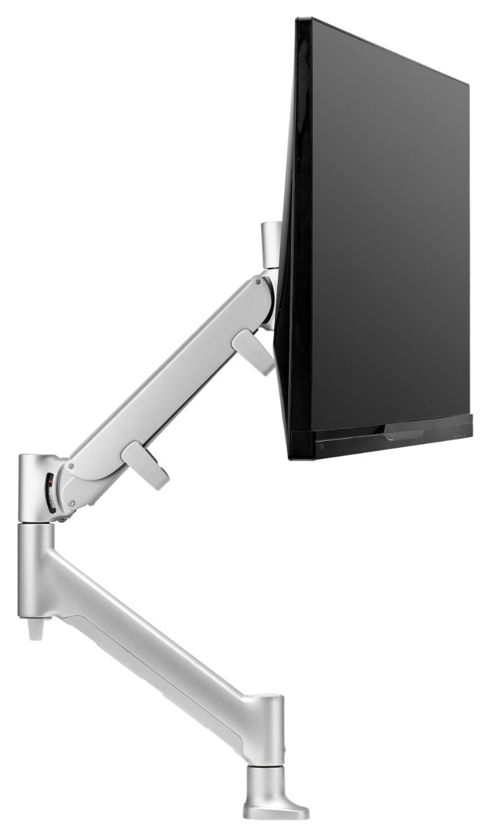 Atdec AWM HD Single monitor mount. Dynamic monitor arm desk mount base with HD F-Clamp. Includes in-built 180° rotation limiter. Silver