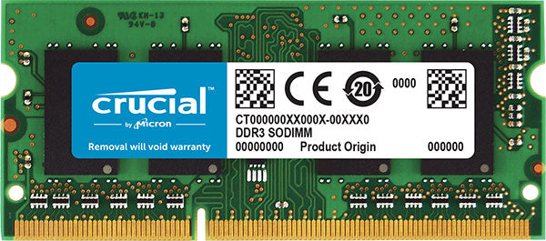 Crucial 4GB (1x4GB) DDR3 SODIMM 1600MHz 1.35V Dual Ranked Single Stick Notebook Laptop Memory RAM