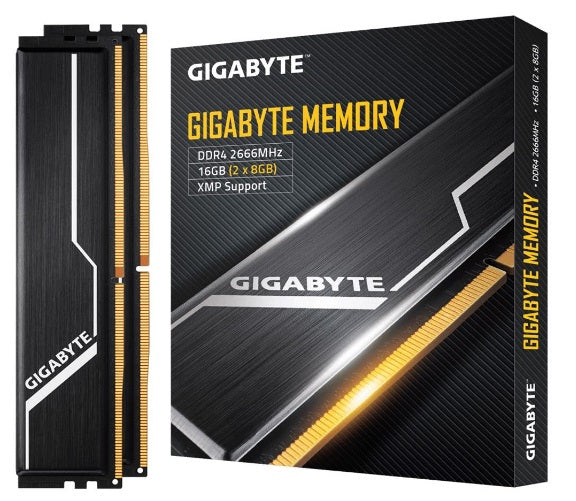 Gigabyte Gaming Memory 16GB (2x8GB) DDR4 2666MHz C16 1.2V 16-16-16-35 XMP 2.0 Dual Channel Kit Aluminum Black Heatsinks PC Desktop RAM