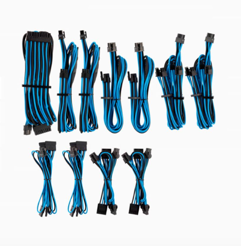For Corsair PSU - BLUE/BLACK Premium Individually Sleeved DC Cable Pro Kit, Type 4 (Generation 4)