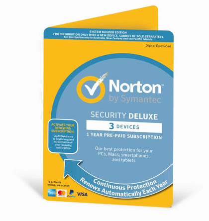 Norton Security Deluxe 2020, 3 Device, 12 Months, PC, MAC, Android, iOS, OEM -   Subscription Only Edition