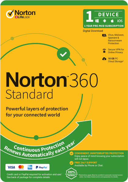 Norton 360 Standard, 10GB, 1 User, 1 Device, 12 Months, PC, MAC, Android, iOS, DVD, VPN, Parental Controls, Attach OEM Edition