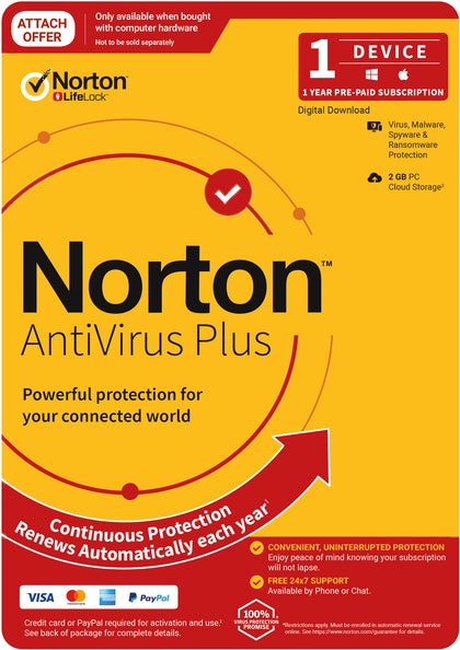 Norton Anti Virus Plus 2020, 2GB, 1 User, 1 Devices, 12 Months, PC, MAC, Android, iOS, DVD