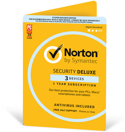 Norton Security Deluxe 2020, 3 Device, 12 Months, PC, MAC, Android, iOS, OEM