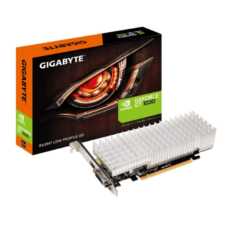 Gigabyte nVidia GeForce GT 1030 2GB DDR5 Silent PCIe Graphic Card 4K@60Hz HDMI DVI 2x Displays Low Profile 1506/1468 MHz ~VCG-N1030D5-2GL GV-N1030D5-2