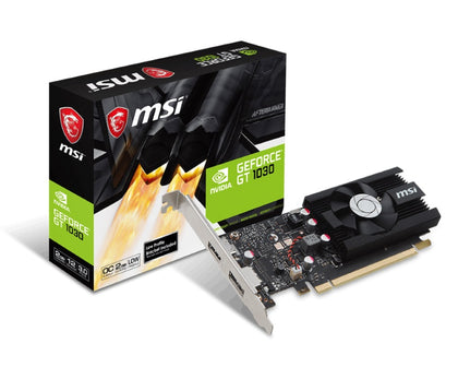 MSI NVIDIA GT 1030 2G LP OC Low Profile Video Card - GDDR5 DP/HDMI 1265/1518MHz