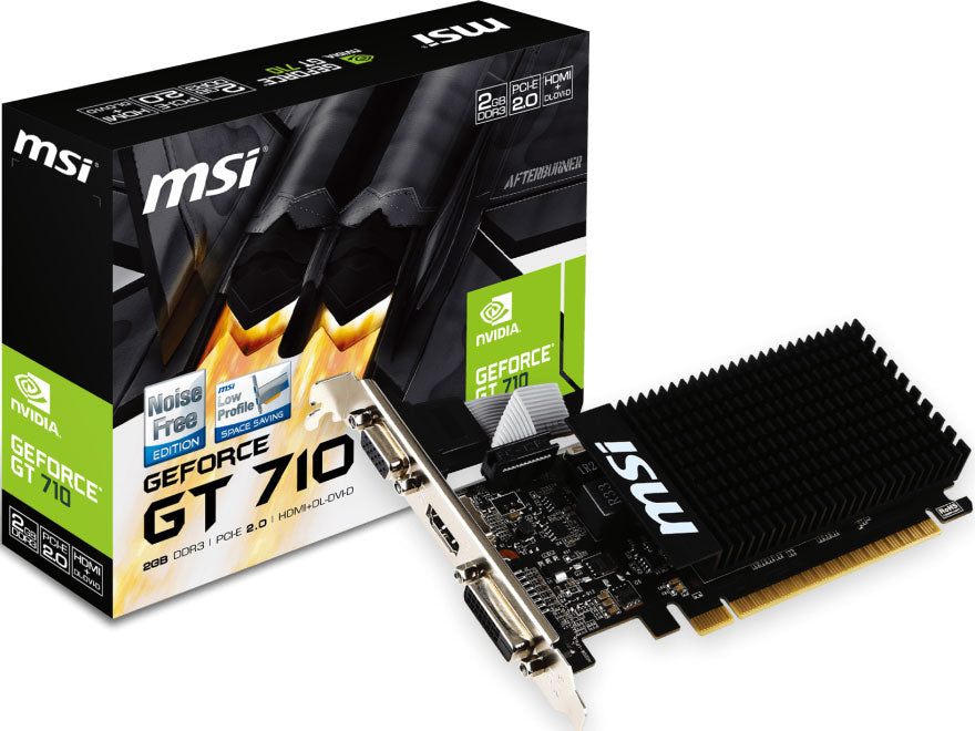 MSI nVidia GT 710 2GB HDMI Low Profile VGA CARD PCIE2,DVI/HDMI/VGA,GDDR3