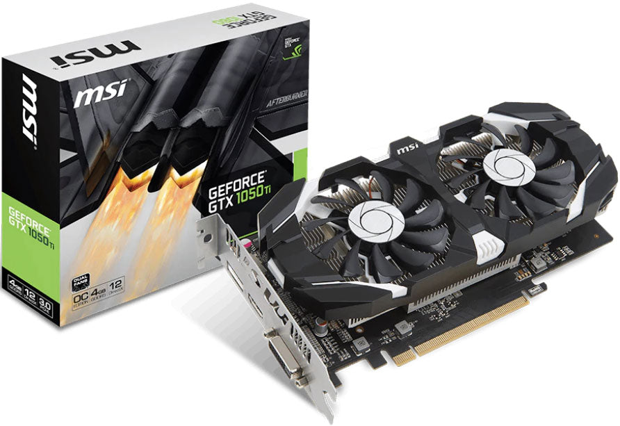MSI NVIDIA GTX 1050 TI 4GT OC V1 4GB Video Card - GDDR5 DP/HDMI/DVI 1341/1455MHz