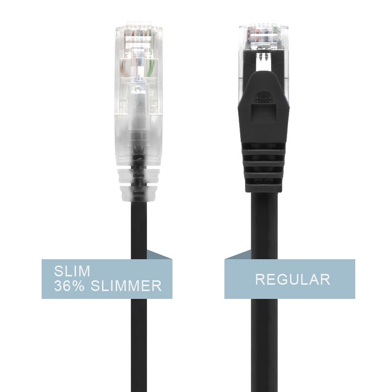 Alogic 3m Black Ultra Slim Cat6 Network Cable, Utp, 28 Awg   Series Alpha   Moq:6