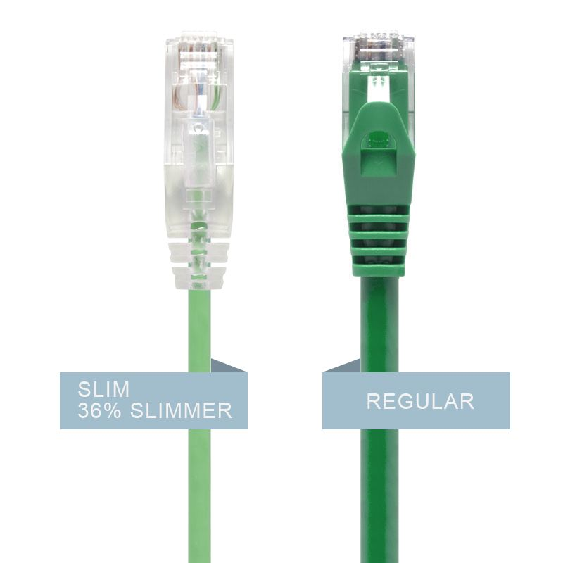 Alogic 2m Green Ultra Slim Cat6 Network Cable, Utp, 28 Awg   Series Alpha   Moq:7