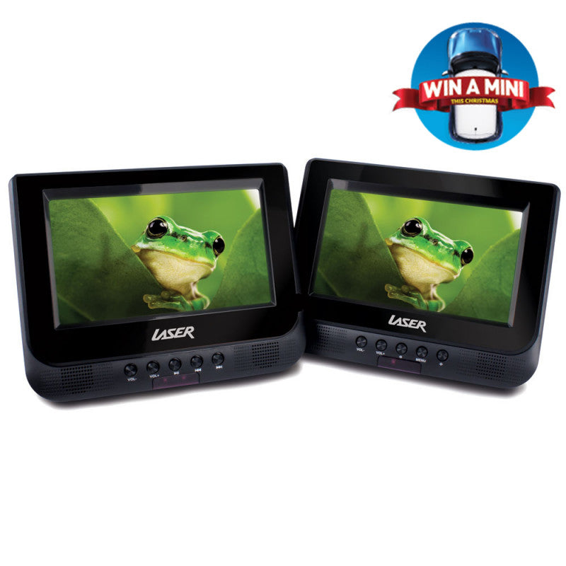 "Dvd Player Dual In Car 7"" With Bonus Pack (Headrest Mounts And Earphones)"