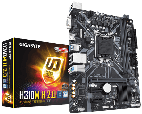 GIGA H310, 2x DDR4 DIMM, 1 x HDMI, 6 x USB, 1x RJ-45, 3 x AJ,support Windows 7, Micro ATX